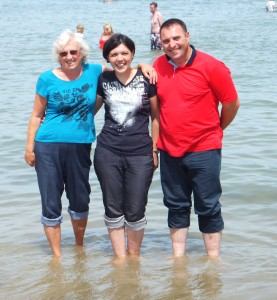 First time paddling in the sea, with Pat at Weymouth